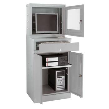 Enclosed compact computer workstation for flatsceens