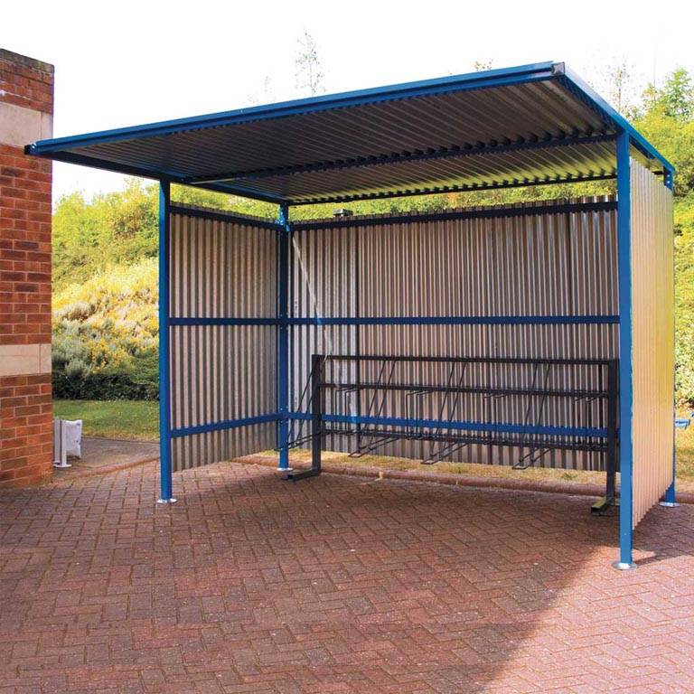 Traditional cycle shelters with galvanised sides: basic unit