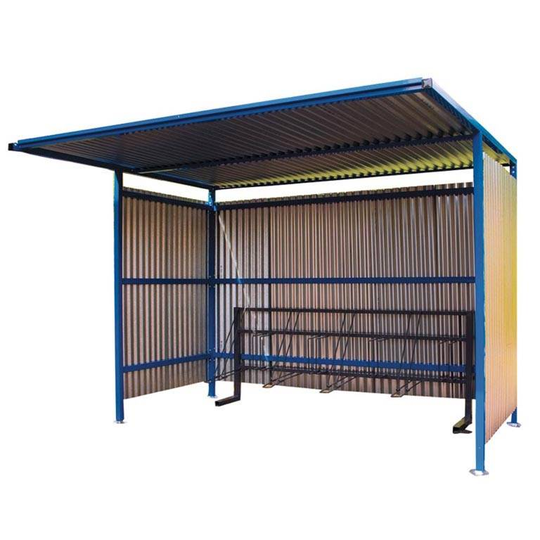 Traditional cycle shelter with galvanised sides: add-on unit