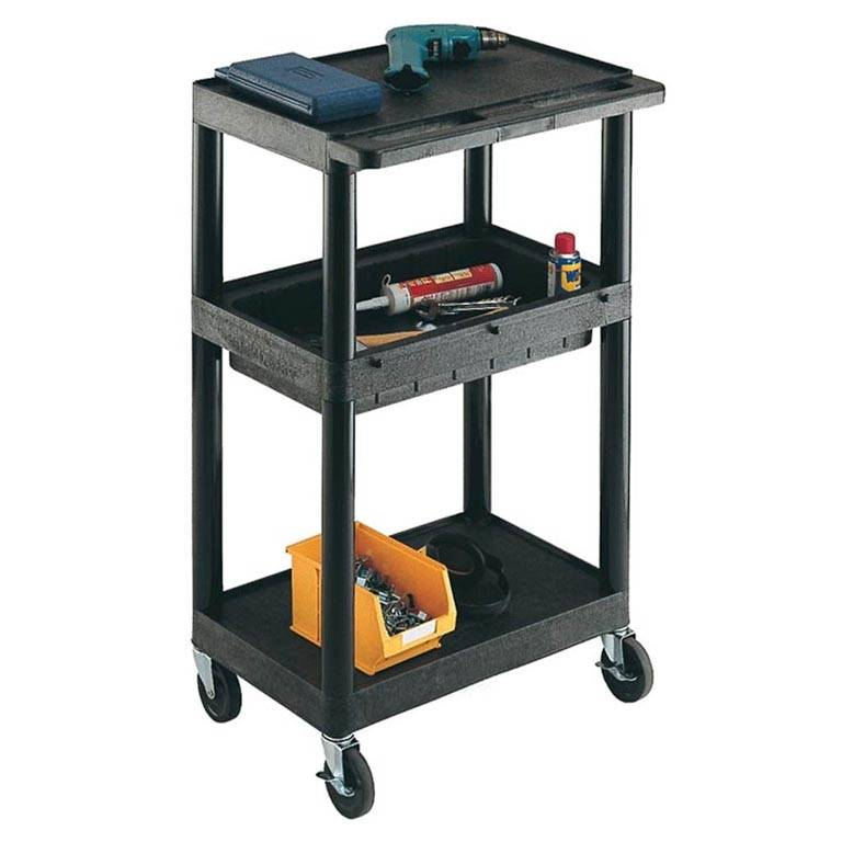 Service trolley: 1 storage tray+1/2 flat shelves