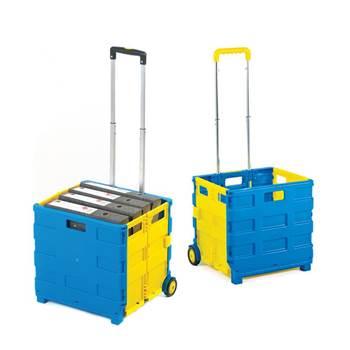 Folding box trolley: blue/yellow