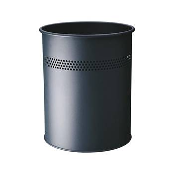 Round waste basket: metal: 15L