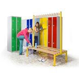 Double-sided changing room benches
