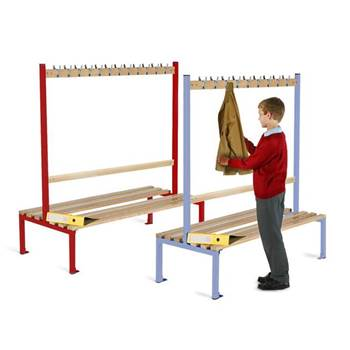 Double-sided school cloakroom benches