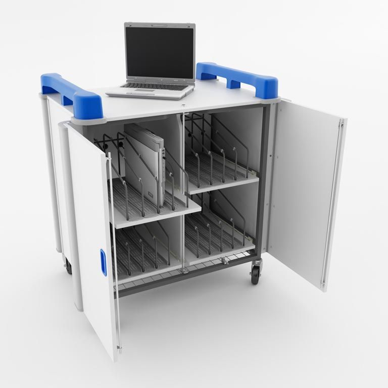 Mobile laptop cabinets: 16 ports: vertical storage