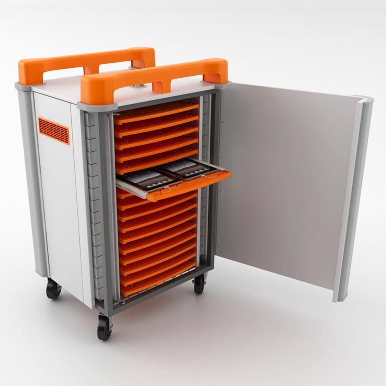 Mobile tablet cabinets: 32 ports: horizontal storage