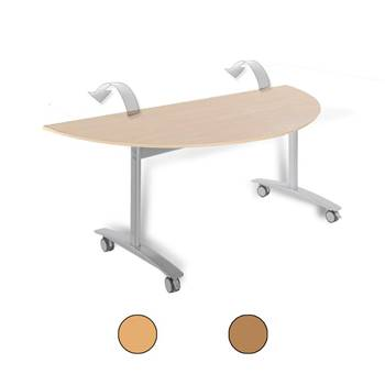 Semi-circular fliptop table