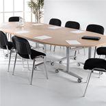 Semi-circular fliptop table