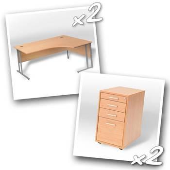 2 x ergo desks + 2 x desk high peds D800mm