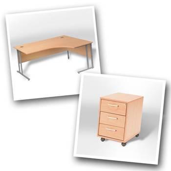 Ergo desk + 3 dwr mobile ped