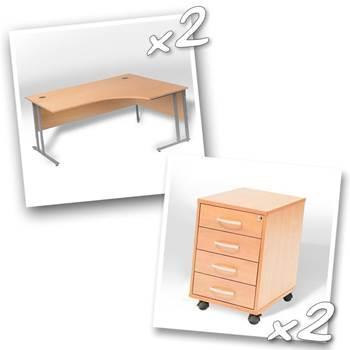 2 x ergo desks + 2 x 4 dwr peds