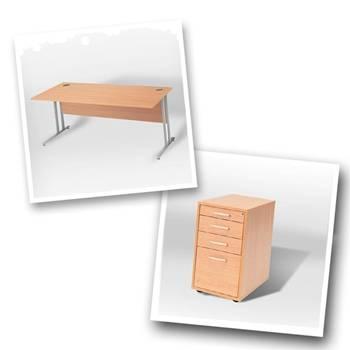 Straight desk + desk high ped D800mm