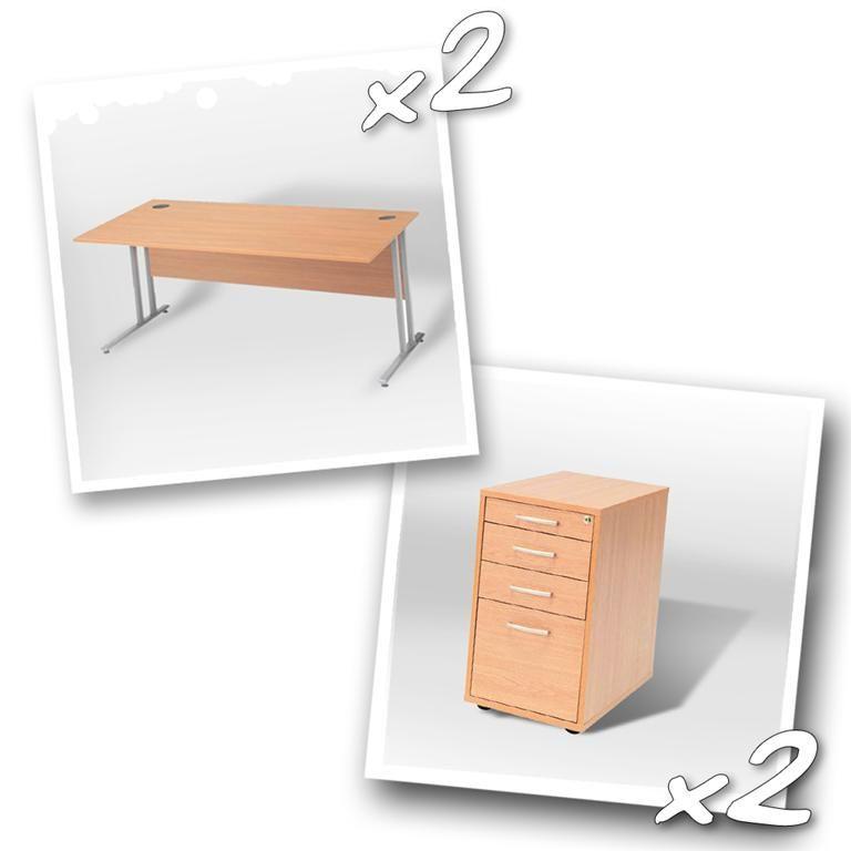 """""""Flexus budget"""" package deal: 2 x straight desk + 2 x pedestal"""