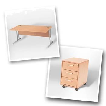 """Flexus budget"" package deal: straight desk + mobile pedestal"