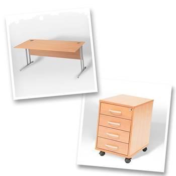 Straight desk + 4 dwr mobile ped