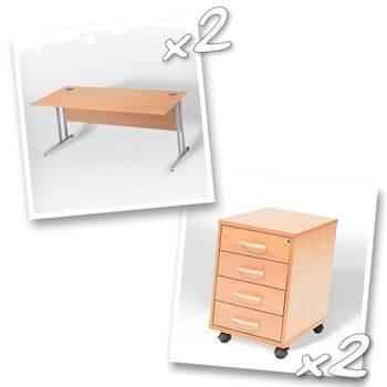 2 x straight desks + 2 x 4 dwr peds