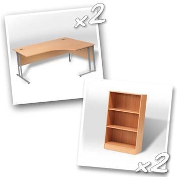 2 x ergo desks + 2 x bookcase H1325mm
