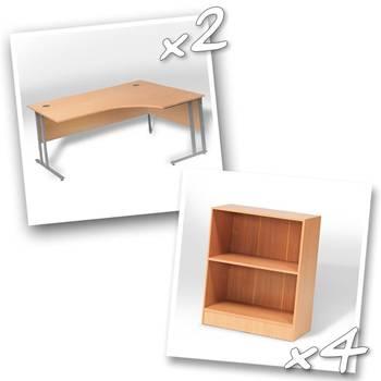 2 x ergo desks + 4 x bookcase H925mm