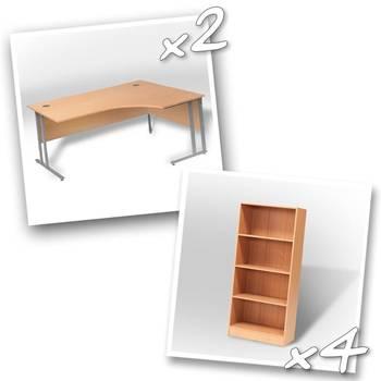 2 x ergo desks + 4 x bookcase H1725mm