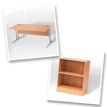 Straight desk + bookcase H925mm