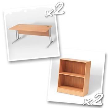 2 x straight desks + 2 x bookcase H925mm