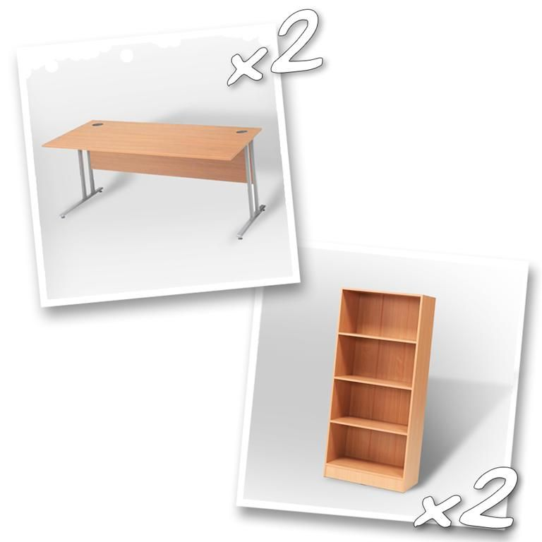 """Flexus budget"" package deal: 2 x straight desk + 2 x bookcase"