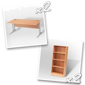 2 x straight desks + 2 x bookcase H1725mm