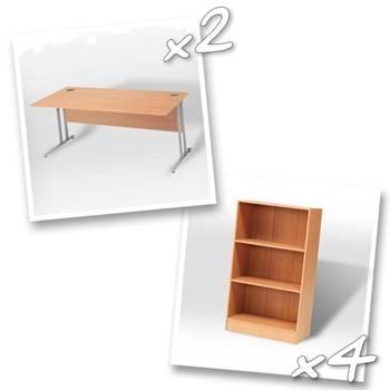 2 x straight desks + 4 x bookcase H1325mm