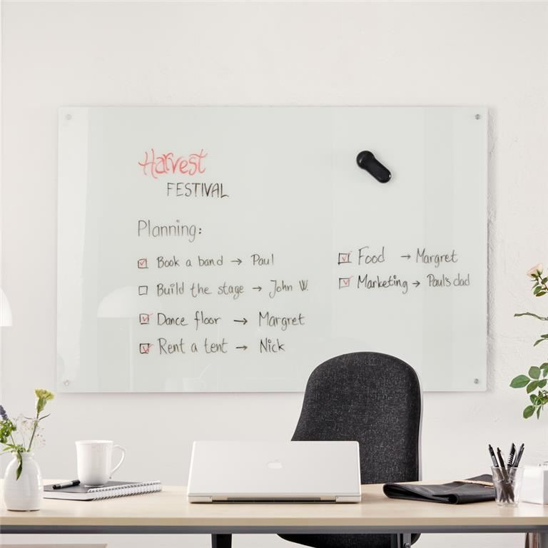 Write-on® white magnetic glass boards