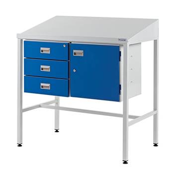 Team Leader Workstation with Cupboard + Triple Drawer Unit