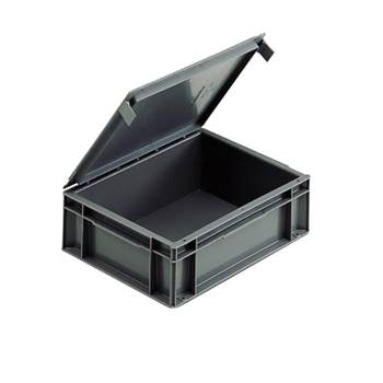 Euro stacking boxes with integral lid