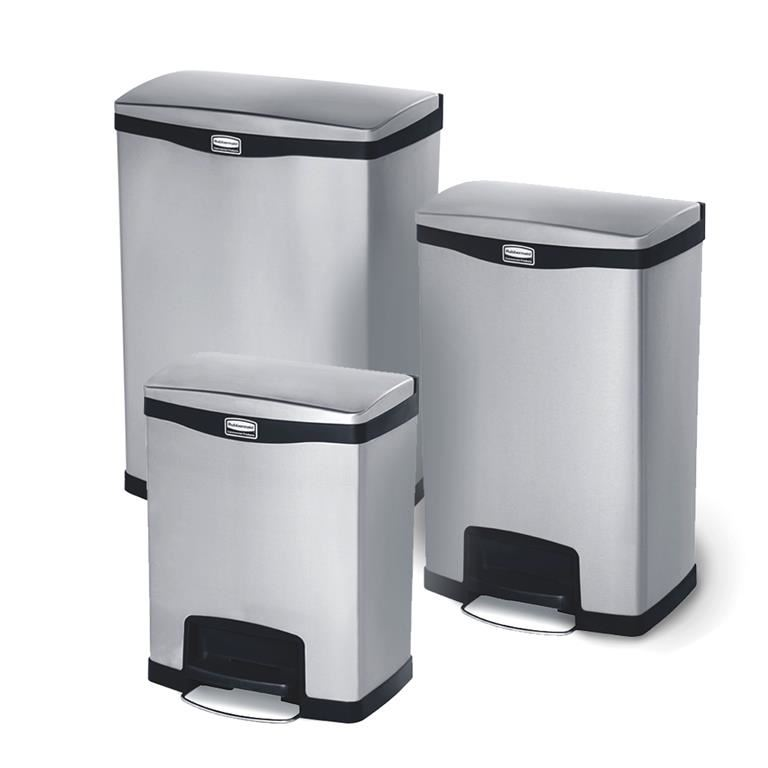Slim-Jim® stainless recycling step-on containers
