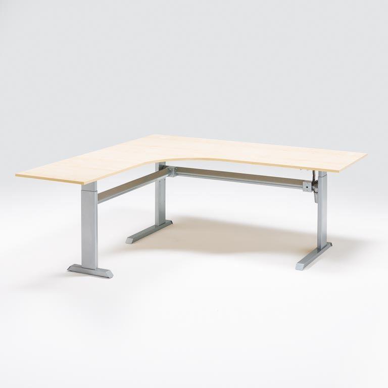 Hjørneskrivebord Flexus, elektrisk hev/senk - avrundet innerbue