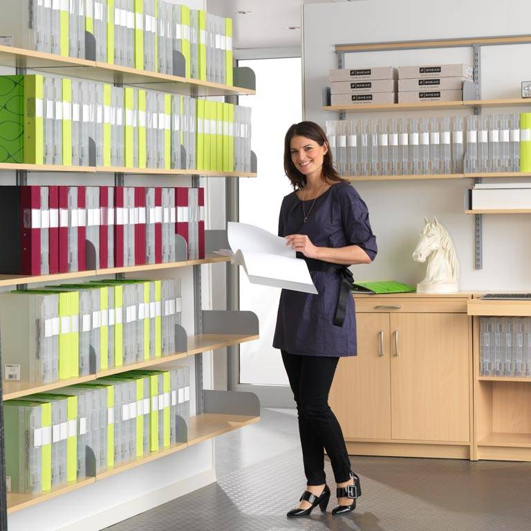 Wall-mounted archive shelving
