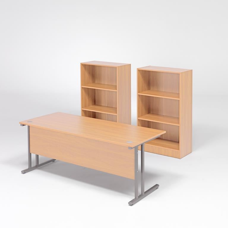 Package deal: straight desk +  2 x bookcases