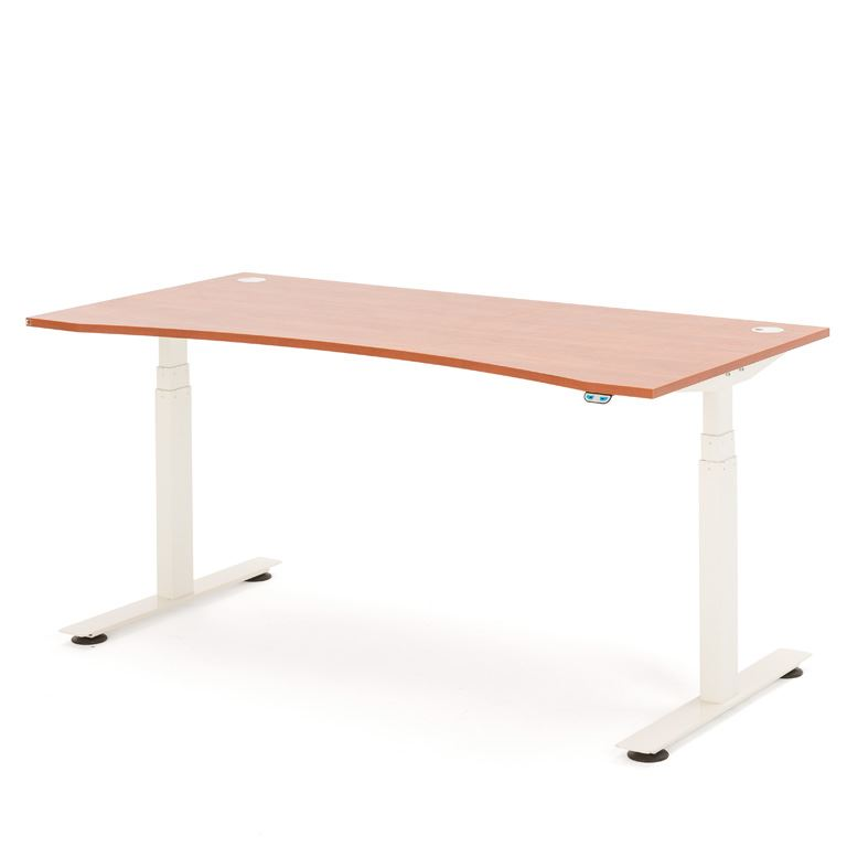 Hev- og senk skrivebord, med mageuttak