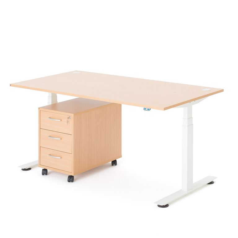 Complete office package deal: height adjustable desk + pedestal