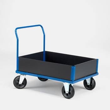 Platform trolley with 1 end frame and low sides