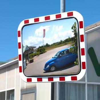 Industrial warning mirror
