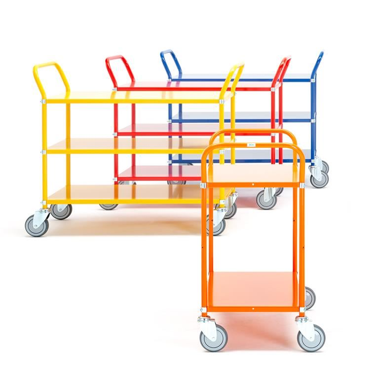 Wózek platformowy z półkami