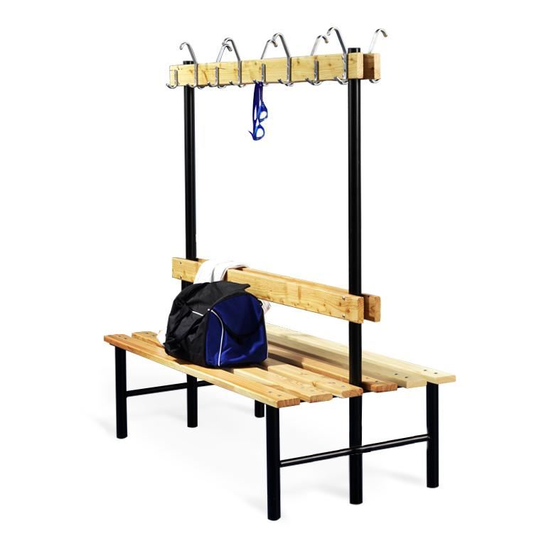 """Stabil"" double bench with hook rail"