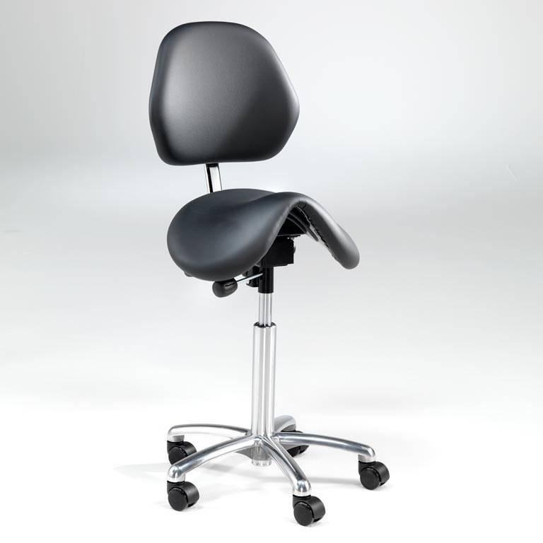Sadelstol Derby med rygg og sete i kunstlær