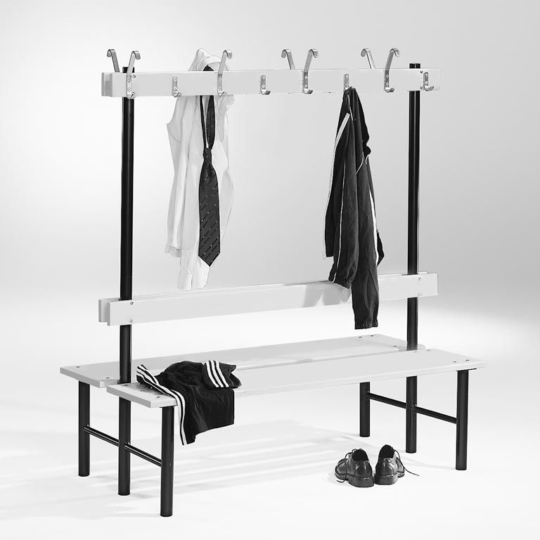 Double-sided benches with hook rail