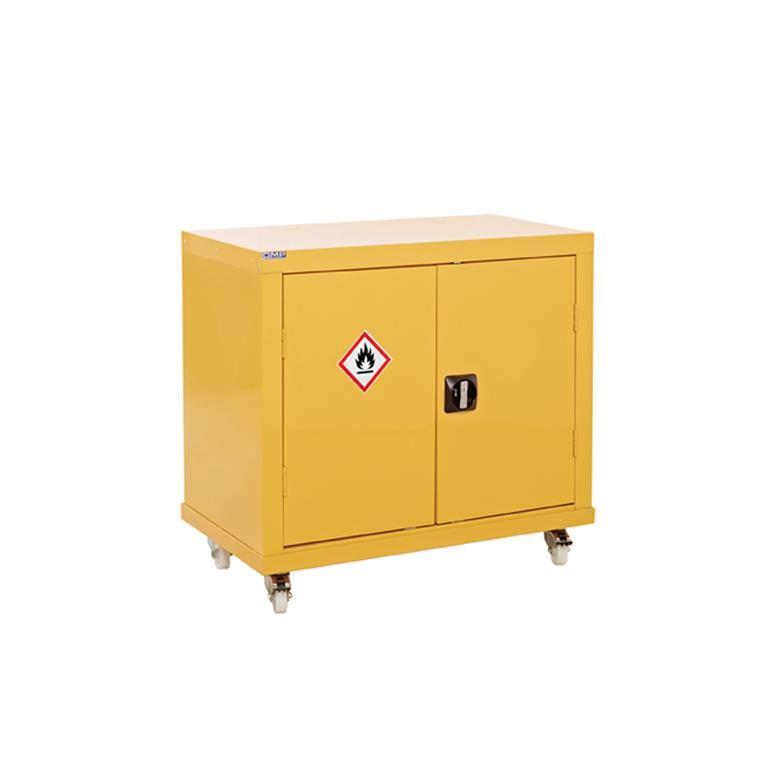 Mobile hazardous substance storage cabinet