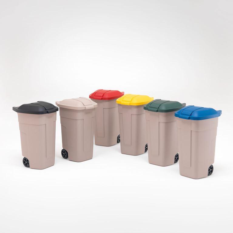 Avfallsbehållare med färgat lock