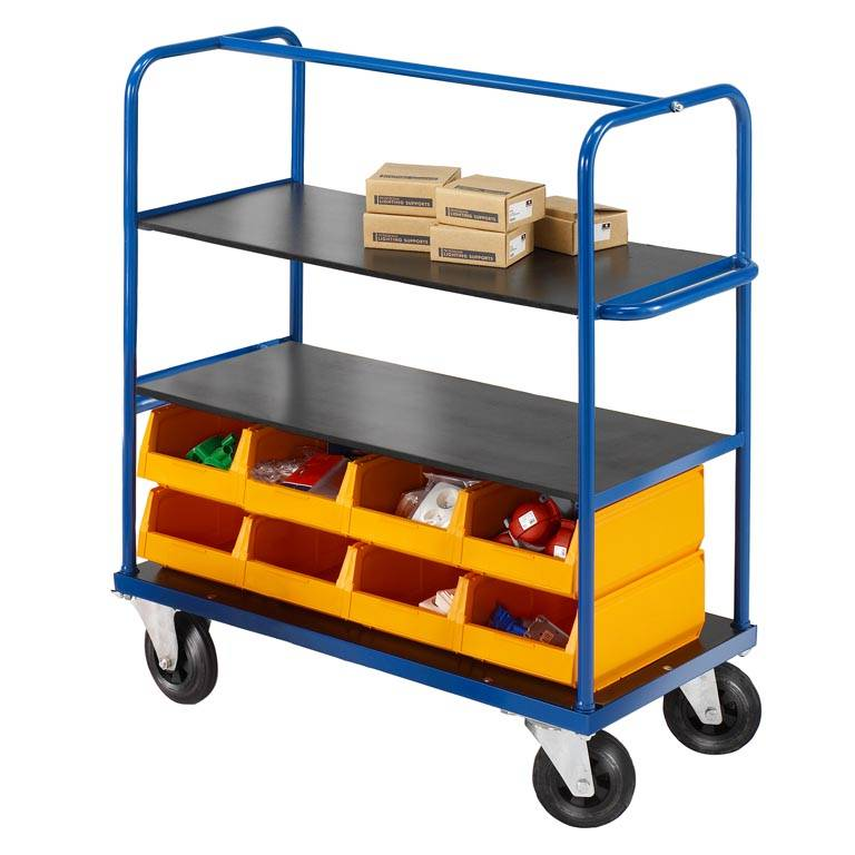 Durable tray trolley: 3 shelves