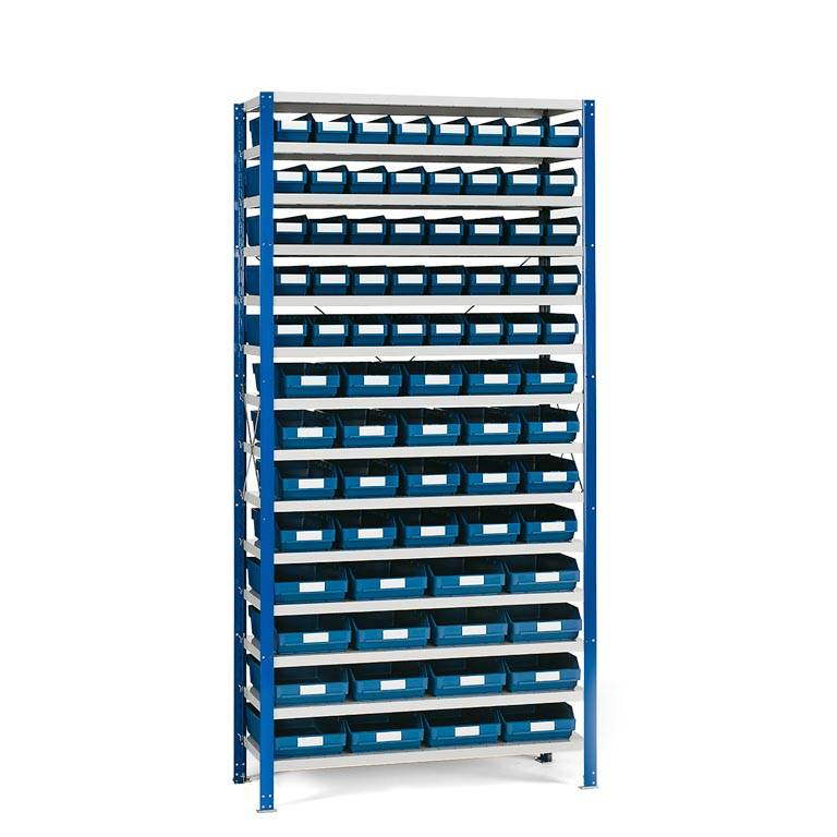 Package deal: shelving for small parts: 76 bins