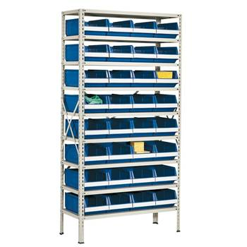Package deal: small parts shelving with 32 bins