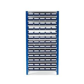 Lagerbokshylle, 65 blå plastkasser
