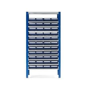 Lagerbokshylle, 44 bokser, blå bokser
